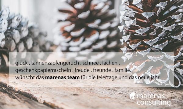 marenas wünscht eine schöne Weihnachtszeit und einen guten Start in ein gesundes und wundervolles neues Jahr 2019