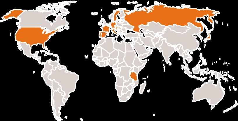 unsere Projektstandorte sind auf der ganzen Welt verteilt